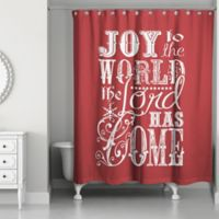 "Designs Direct ""Joy to the World"" Shower Curtain in Red"