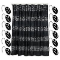 Sinatra Shower Curtain with Shower Hooks in Black