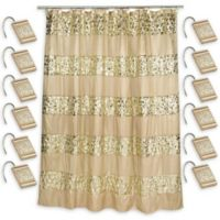 Sinatra Shower Curtain with Shower Hooks in Champagne Gold
