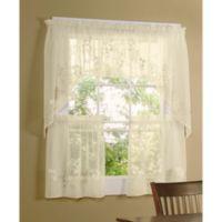 Commonwealth Home Fashions Hydrangea 24-Inch Kitchen Window Tiers in Cream