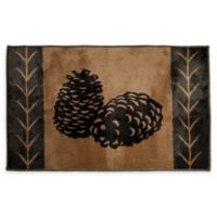 "HiEnd Accents 24"" x 36"" Pine Cone Bath Rug in Brown"