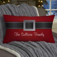 HO! HO! HO! Santa Belt Personalized Throw Pillow