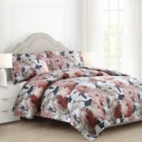 Auberne Floral Twin/Twin XL Reversible Comforter Set in Black