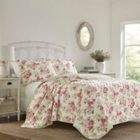 Laura Ashley Willa Reversible Full/Queen Quilt Set in Pink