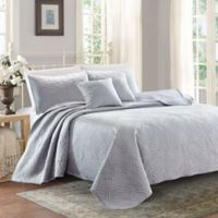 Sherry Kline Lux Embroidered Queen Quilt Set in Light Blue
