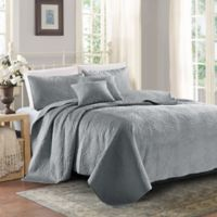 Sherry Kline Lux Embroidered King Quilt Set in Light Grey