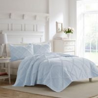 Laura Ashley® Maisy Ruffle Full/Queen Quilt Set in Blue