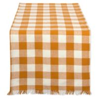 Design Imports 72-Inch Check Fringed Table Runner in Spice/White