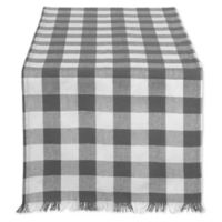 Design Imports 72-Inch Check Fringed Table Runner in Grey/White