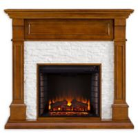 Southern Enterprises Jayben Media Faux Stone Fireplace in Dark Sienna