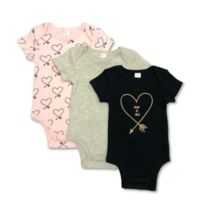 """Size 9M 3-Pack """"Heart of Gold"""" Short Sleeve Bodysuits"""