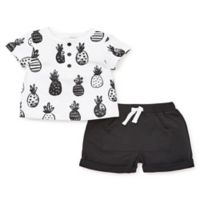 Focus Kids™ Pineapple Size 6M 2-Piece Shorts Set in White