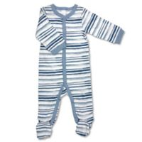 Modern Baby® Newborn Stripe Footie in Blue/White