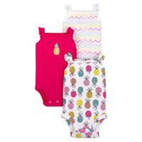 Lamaze® Newborn 3-Pack Pineapple Flutter Sleeve Organic Cotton Bodysuits
