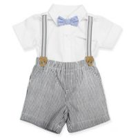 Clasix Beginnings® Size 6M 3-Piece Seersucker Shorts Set in White