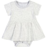 Petit Lem™ Newborn Striped Bodysuit Dress in Light Grey