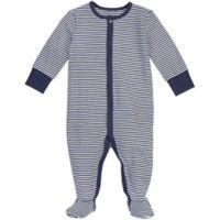 Petit Lem® Newborn Striped Organic Cotton Footie in Navy