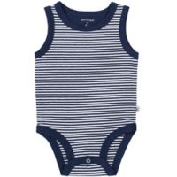 Petit Lem® Newborn Striped Organic Cotton Bodysuit in Navy