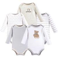 Hudson Baby® Size 12-18M 5-Pack Bear Long Sleeve Bodysuits
