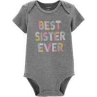 "carter's® ""Best Sister Ever"" Size 12M Bodysuit in Heather Grey"
