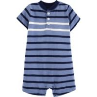 carter's® Newborn Striped Slub Henley Romper in Blue