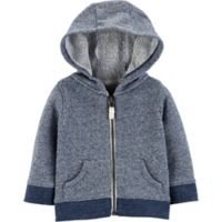 carter's® Size 12M Zip-Front Marled Yarn French Terry Hoodie in Navy