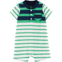 carter's® Size 9M Striped Henley Romper in Green