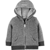 carter's® Size 9M Marled Yarn Zip-Up Hoodie in Black/Grey