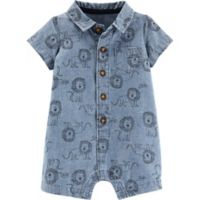 carter's® Size 3M Button-Front Chambray Lion Romper in Blue
