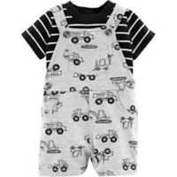 carter's® Size 12M 2-Piece Construction Shirt and Shortall Set in Grey