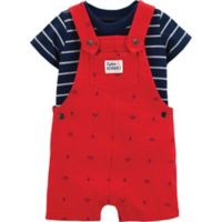 carter's® Size 12M 2-Piece Striped Shirt and Anchor Shortall Set in Red