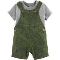 carter's® Size 9M 2-Piece Shirt and Dinosaur Shortall Set in Olive