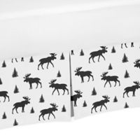 Sweet Jojo Designs Rustic Patch Moose Crib Skirt in Black/White