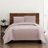 Truly Soft Everyday Velvet Pick Stitch Twin/Twin XL Quilt Set in Blush