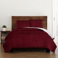 Truly Soft Everyday Velvet Pick Stitch King Quilt Set in Red