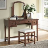 Modern Marketing Crosley Vista Vanity Set with Stool in Mahogany
