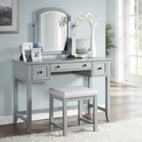 Modern Marketing Crosley Vista Vanity Set with Stool in Grey
