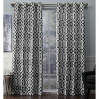 Scrollwork 108-Inch Grommet Room Darkening Window Curtain Panel Pair in Black Pearl