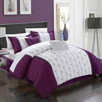Chic Home Lystra 6-Piece Queen Comforter Set in Plum