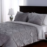 Berkshire Blanket® Pleated Suedemink™ 3-Piece Full/Queen Comforter Set in Light Grey