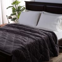 Berkshire Blanket® Braided VelvetLoft® Reversible Twin Comforter in Dark Grey