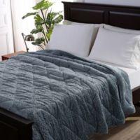 Berkshire Blanket® Braided VelvetLoft® Reversible Full/Queen Comforter in Light Blue