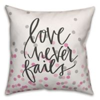 Designs Direct Love Never Fails Square Throw Pillow in Grey