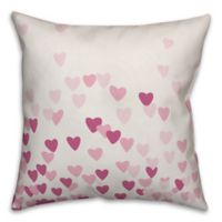 Designs Direct Hearts Square Throw Pillow in Pink
