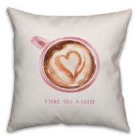 Designs Direct Love You A Latte Square Throw Pillow in Pink