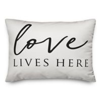 Designs Direct Love Lives Here Oblong Throw Pillow in Black