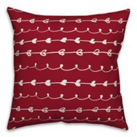 Designs Direct Valentines Doodles Square Throw Pillow in Red
