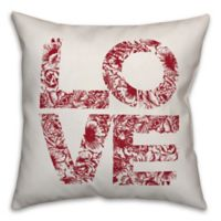 Designs Direct Floral Love Square Throw Pillow in Red
