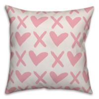 Designs Direct XO Square Throw Pillow in Pink