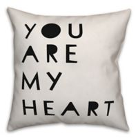 Designs Direct You Are My Heart Square Throw Pillow in Black